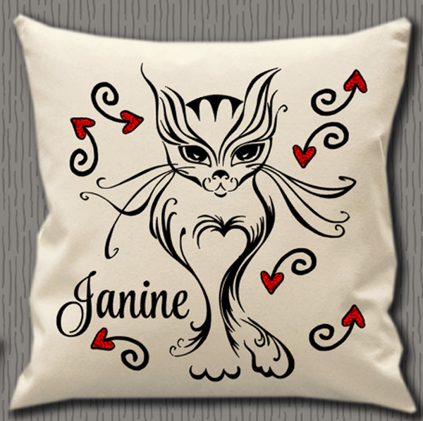 Personalised Cushion Cover~Cat Name