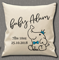 Personalised Cushion Cover~Boy Elephant