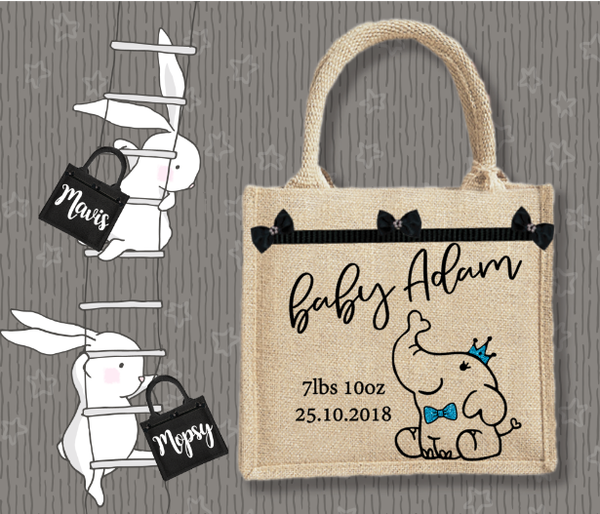 Personalised Jute Bag~Baby Boy Elephant