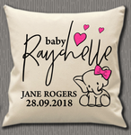 Personalised Cushion Cover~Girl Elephant