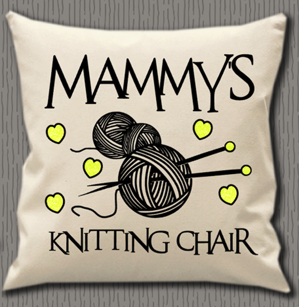 Personalised Cushion Cover~Knitting Name