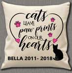 Personalised Cushion Cover~Cats Leave Paw Prints