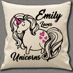 Personalised Cushion Cover~Love Unicorns