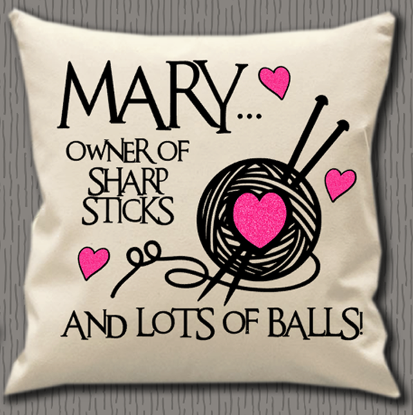 Personalised Cushion Cover~Knitting Sharp Sticks