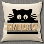 Personalised Cushion Cover~Cat Silhouette Name