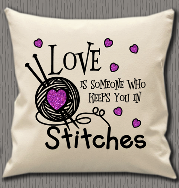 Personalised Cushion Cover~Knitting Love