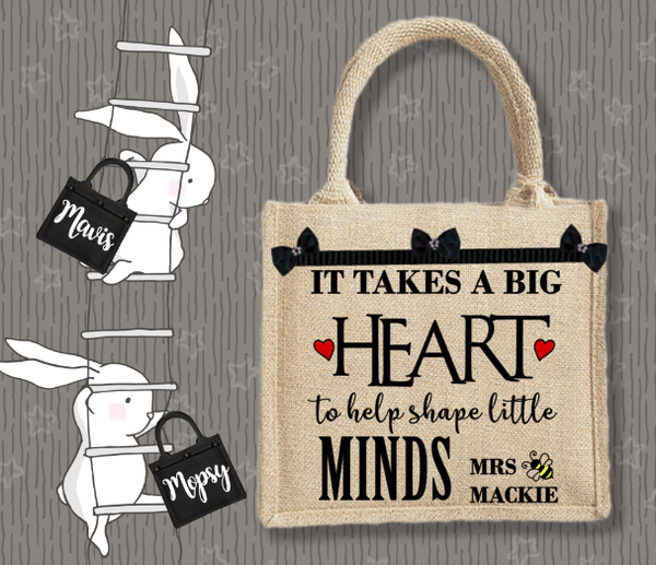 Personalised Jute Bag~Teacher Heart Minds