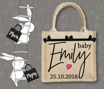 Personalised Jute Bag~Baby Girl Signature