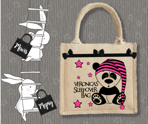 Personalised Jute Bag~Sleepover Bear