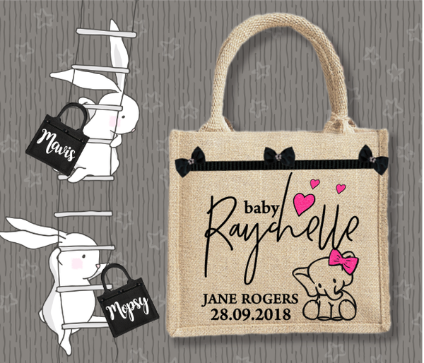 Personalised Jute Bag~Baby Elephant Girl