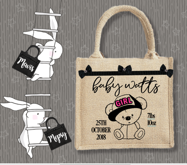 Personalised Jute Bag~Baby Girl Bear