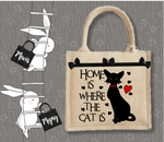 Personalised Jute Bag~Home Is Where The Cat Is