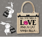 Personalised Jute Bag~Love And A Cat