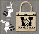 Personalised Jute Bag~Cat Couple