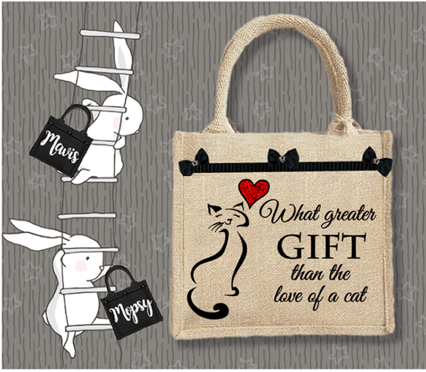 Personalised Jute Bag~Gift Of A Cat