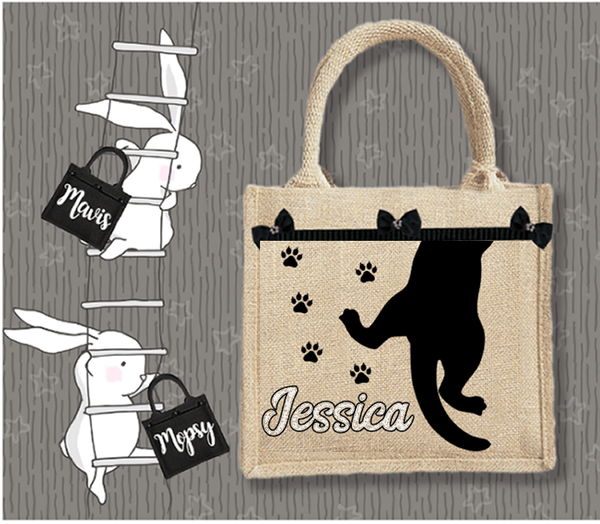 Personalised Jute Bag~Cat Silhouette Name
