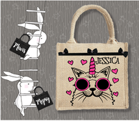 Personalised Jute Bag~Caticorn Name
