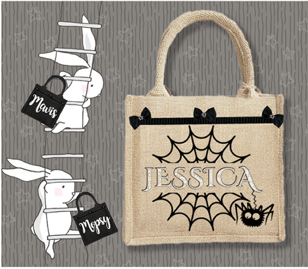 Personalised Jute Bag~Spider's Web