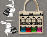 Personalised Jute Bag~Teacher Lunch Pencils