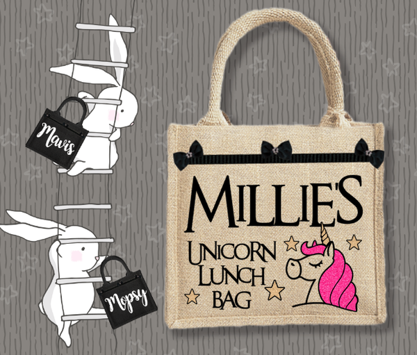 Personalised Jute Bag~Unicorn Lunch