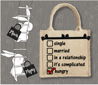 Personalised Jute Bag~Single, Married, Hungry