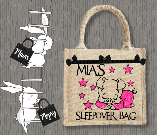 Personalised Jute Bag~Sleepover Piggy