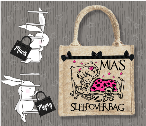 Personalised Jute Bag~Sleepover Girl