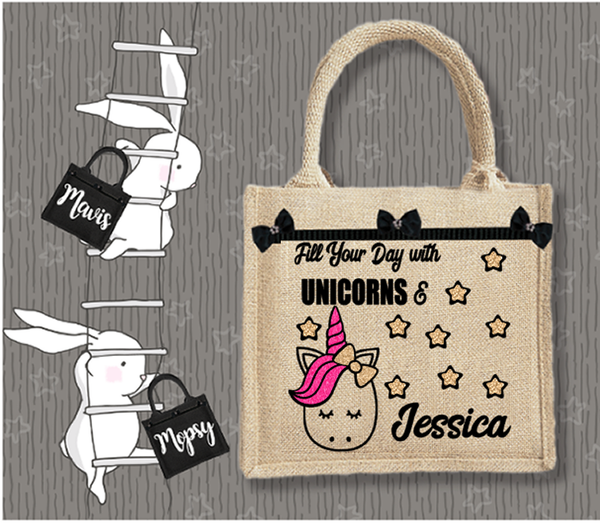 Personalised Jute Bag~Fill Your Day With Unicorns