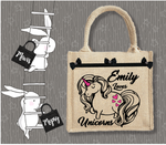 Personalised Jute Bag~Love Unicorns