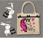Personalised Jute Bag~Unicorn Name