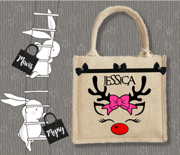 Personalised Jute Bag~Christmas Deer Bow