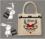 Personalised Jute Bag~Christmas Deer Bow Glasses