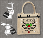 Personalised Jute Bag~Christmas Deer Holly Glasses