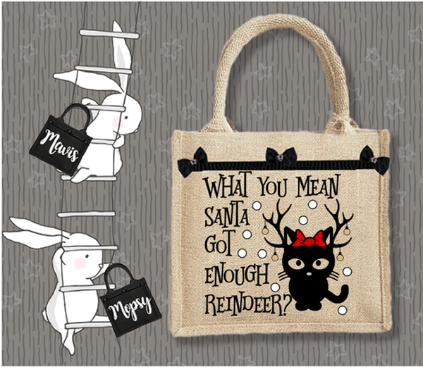 Personalised Jute Bag~Christmas Kitty