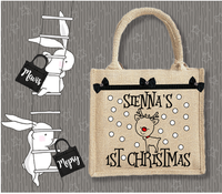 Personalised Jute Bag~Reindeer 1st Christmas