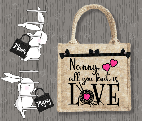 Personalised Jute Bag~All You Knit Is Love