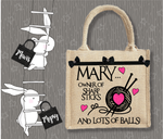 Personalised Jute Bag~Knitting Sharp Sticks