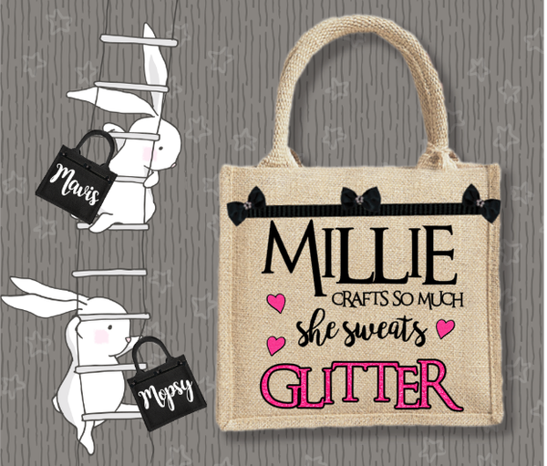 Personalised Jute Bag~Glitter Name