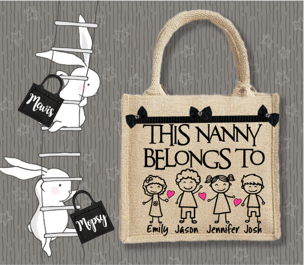 Personalised Jute Bag~This Nanny Belongs To