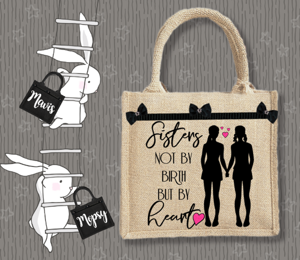 Personalised Jute Bag~Sisters by Heart