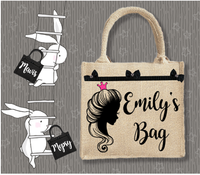 Personalised Jute Bag~Girl Silhouette Name