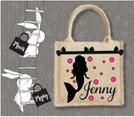Personalised Jute Bag~Mermaid Silhouette