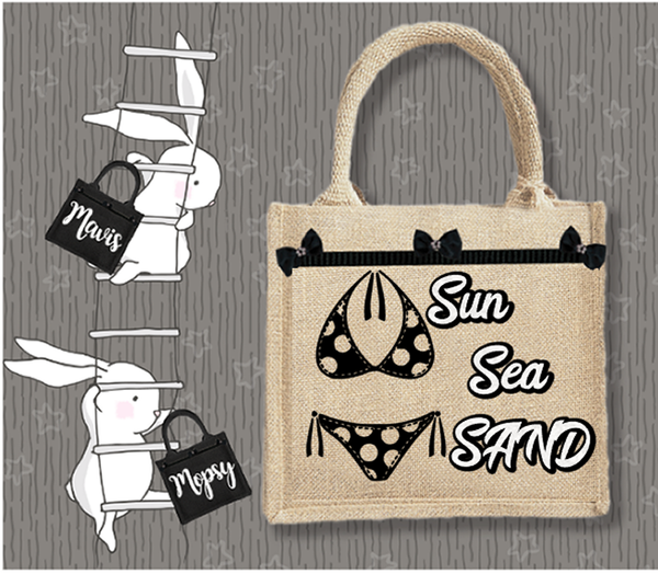 Personalised Jute Bag~Beach Bikini