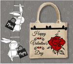 Personalised Jute Bag~Valentine's Rose