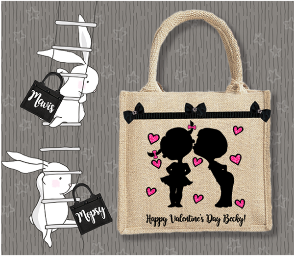 Personalised Jute Bag~Valentine's Couple