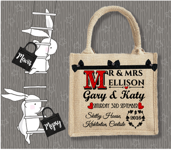 Personalised Jute Bag~Wedding Names