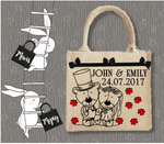 Personalised Jute Bag~Wedding Bears
