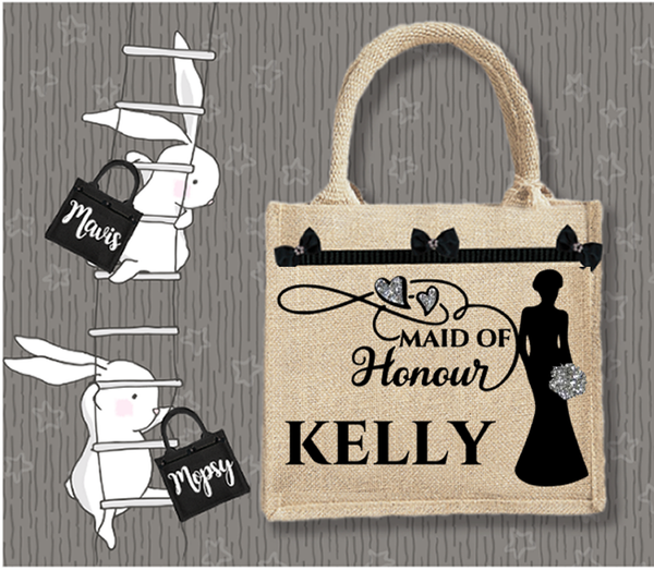 Personalised Jute Bag~Wedding Maid Of Honour