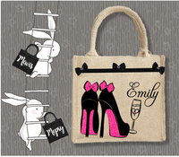 Personalised Jute Bag~Wedding Shoes Glass