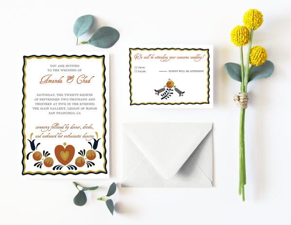 stylish and quirky folk art wedding invitation suite